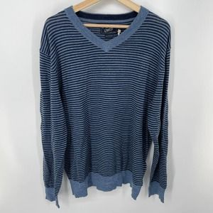 Grayers Navy Bleecker Stripe V Neck Sweater XL